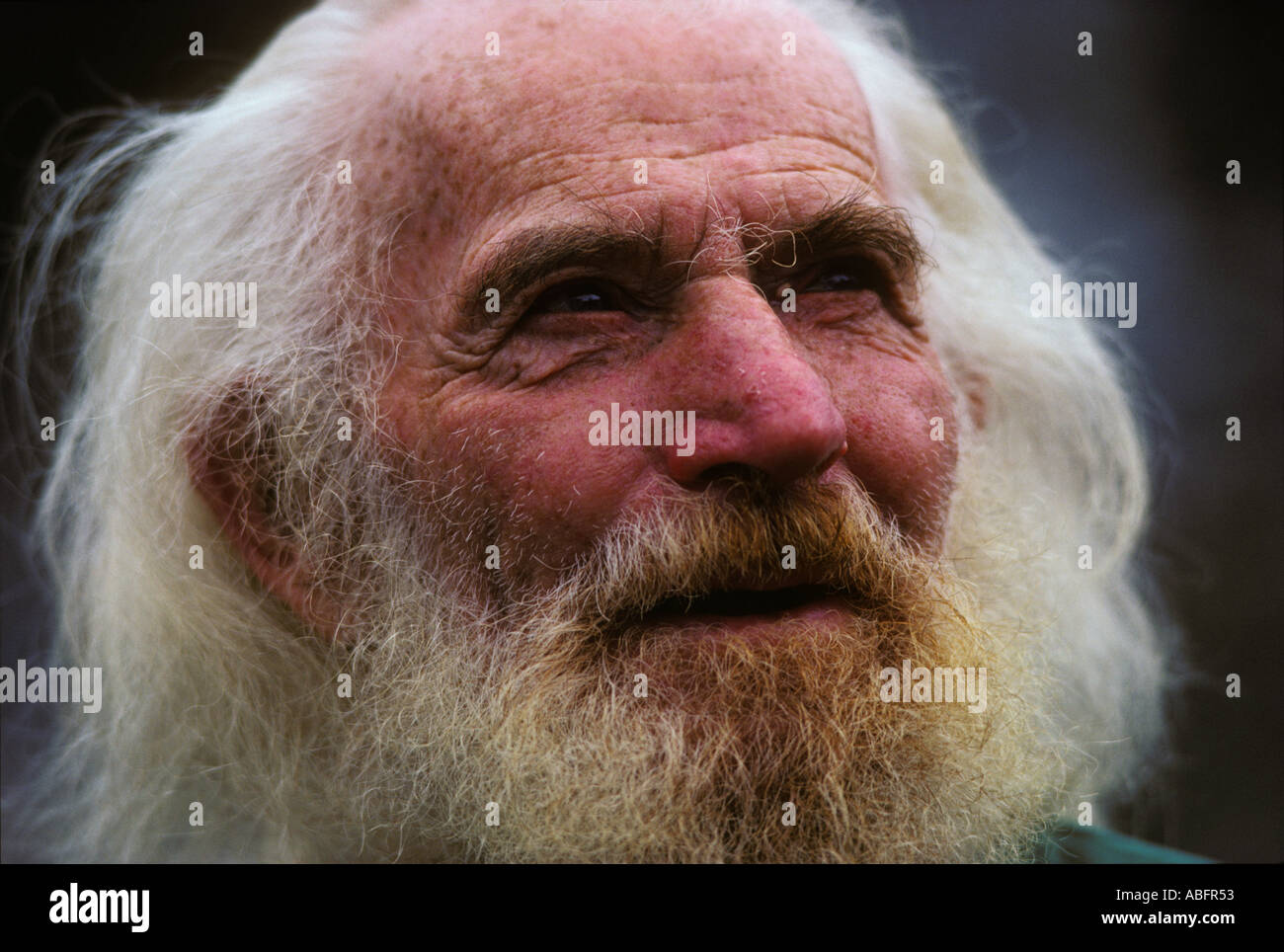 The grizzled face of an old sourdough miner in Dawson City Yukon Canada shows the difficult life he has lived Stock Photo