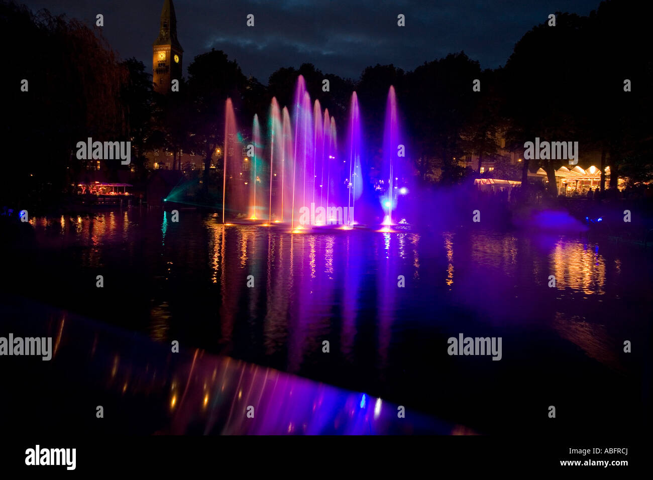 Laser and Fountain Show - Stock Image