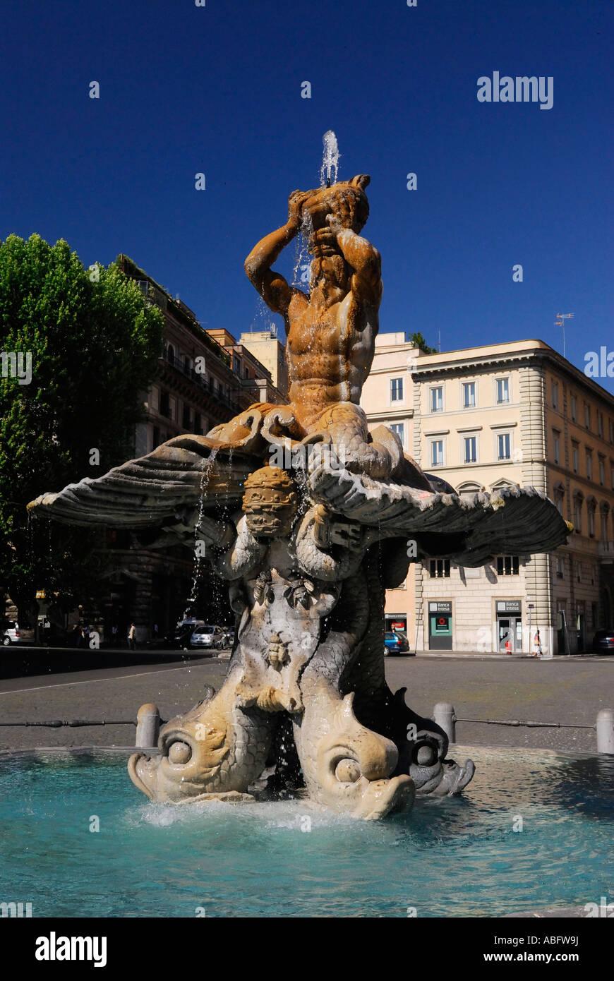Triton fountain by Bernini in Piazza Barberini Rome Italy - Stock Image