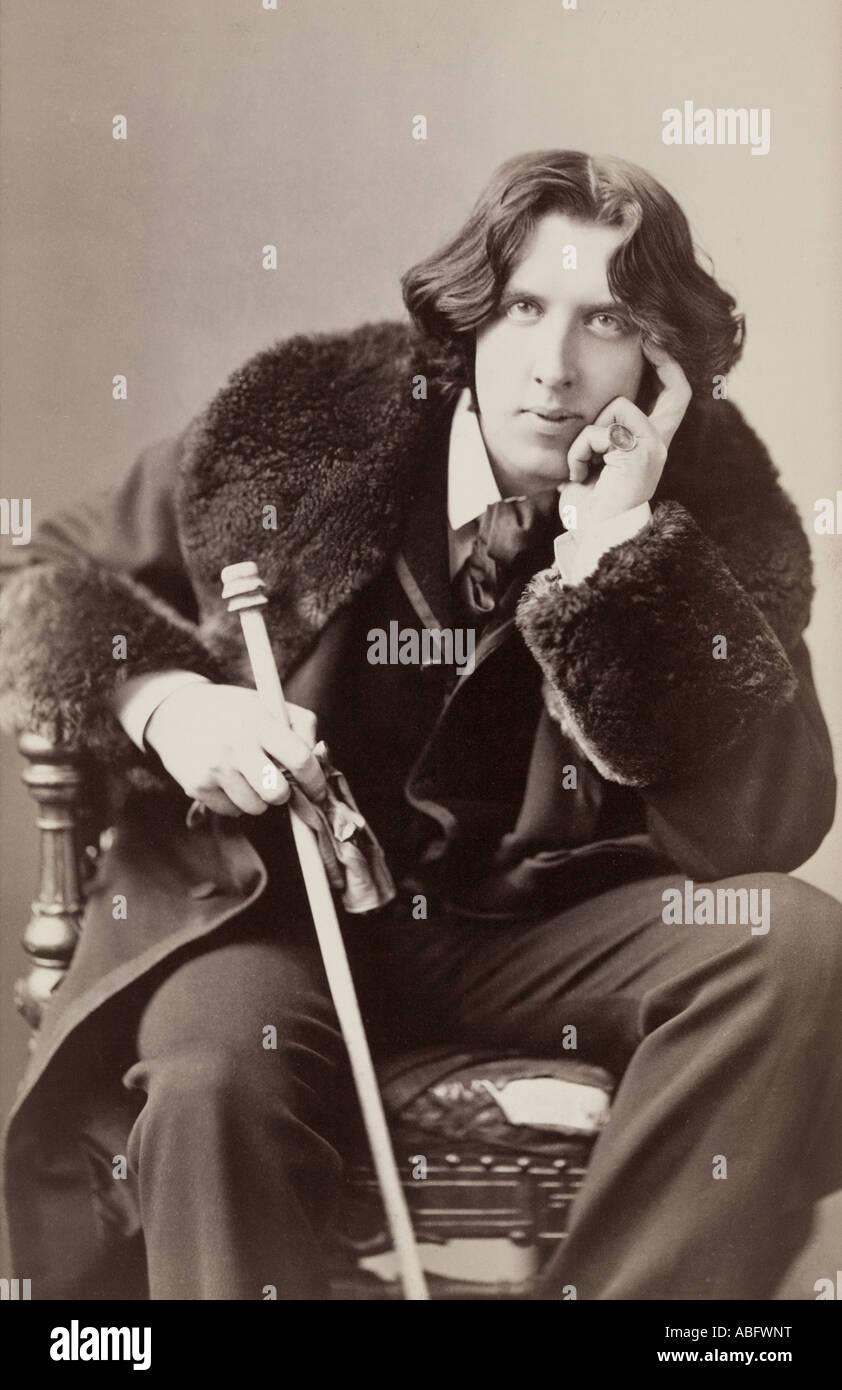 Oscar Fingal O Flahertie Wills Wilde, 1854 to 1900. Irish novelist playwright freemason wit - Stock Image