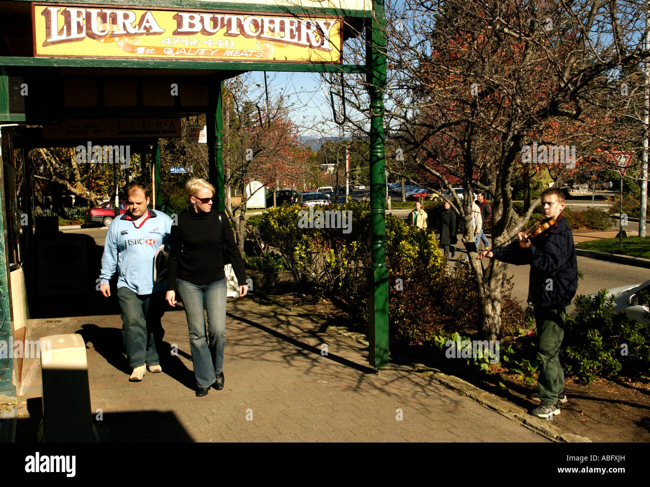 Life on the main street of Leura Blue Mountains New South Wales Australia - Stock Image