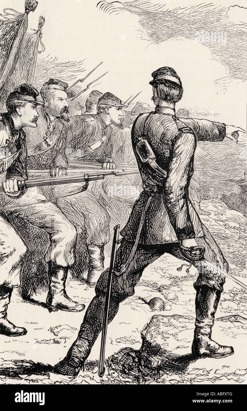 Officer leading attack in American Civil War - Stock Image