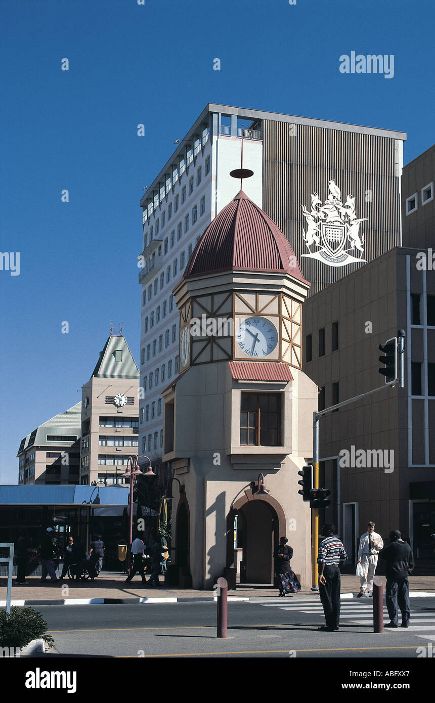 Clock tower from old demolished Deutsch Afrika Bank of 1908 on Independence Avenue Windhoek Namibia south west Africa - Stock Image