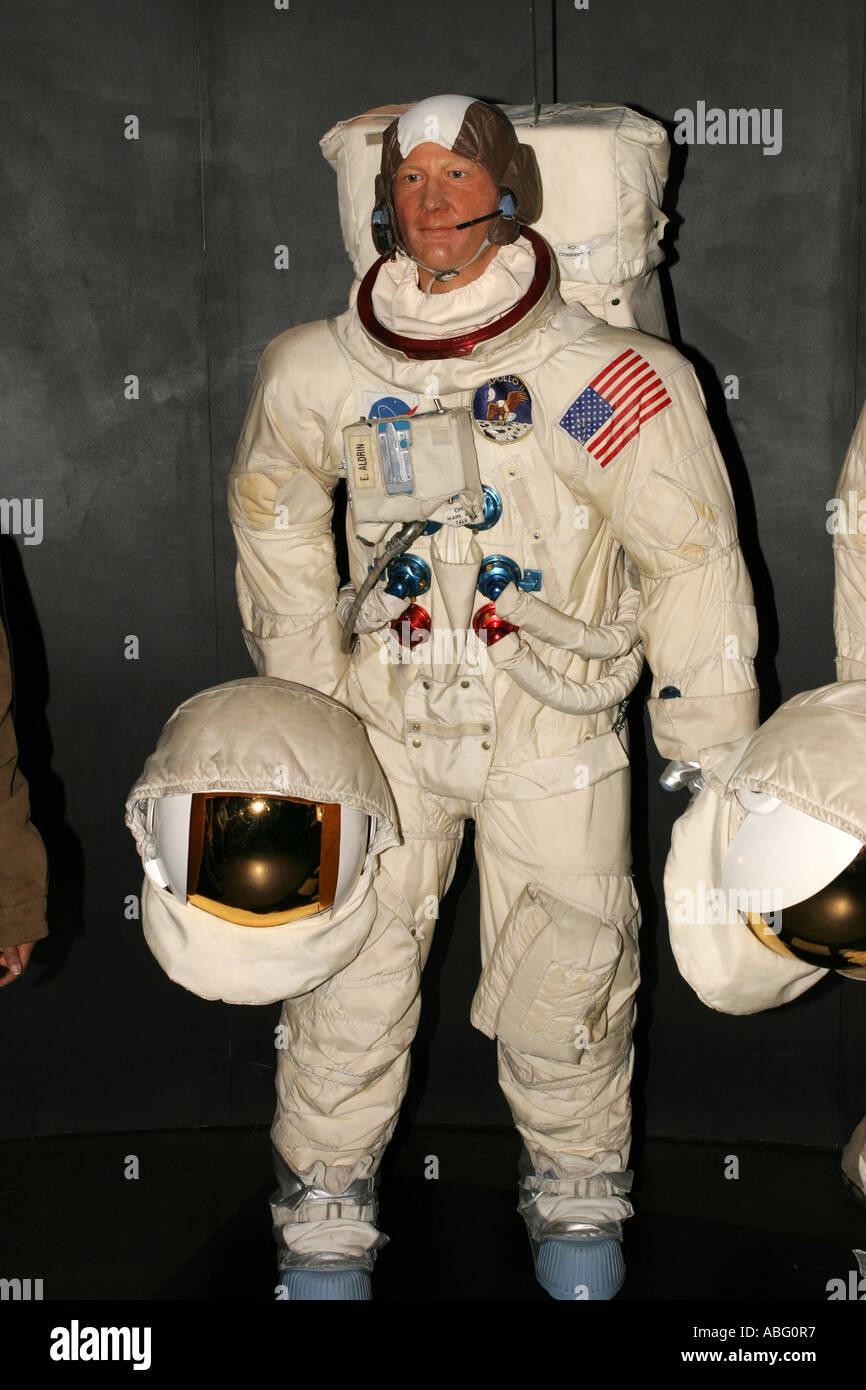 Buzz Aldrin as a waxwork replica at Madame Tussauds London - Stock Image