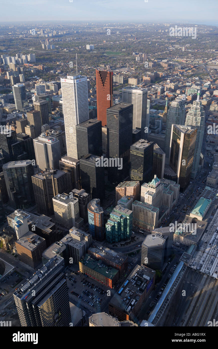 Aerial view of Toronto financial district from the CN tower with horizon at sundown - Stock Image