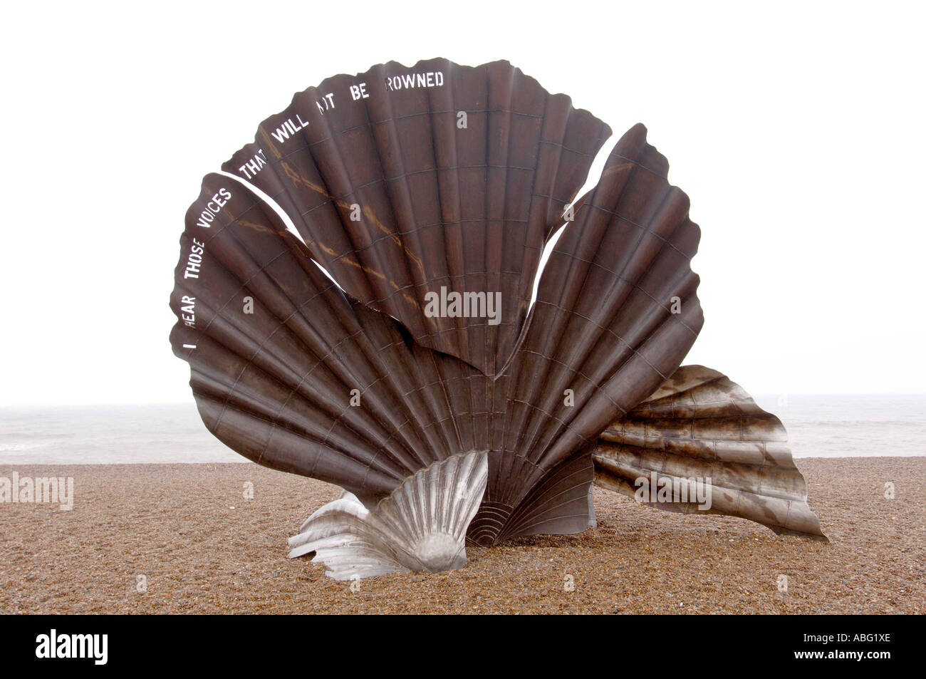 Scallop Sculpture,  Aldeburgh, Suffolk, Beach, England - Stock Image