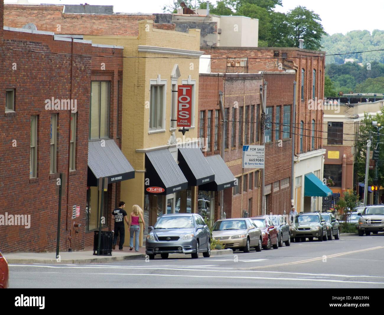 Asheville NC North Carolina shops shopping stores downtown - Stock Image