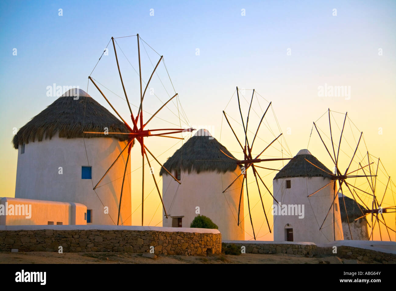 Mykonos Iconic Windmills  Aegean Sea Greece Europe - Stock Image