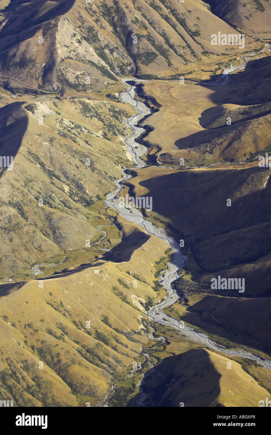 High Country near Lindis Pass Otago South Island New Zealand aerial - Stock Image