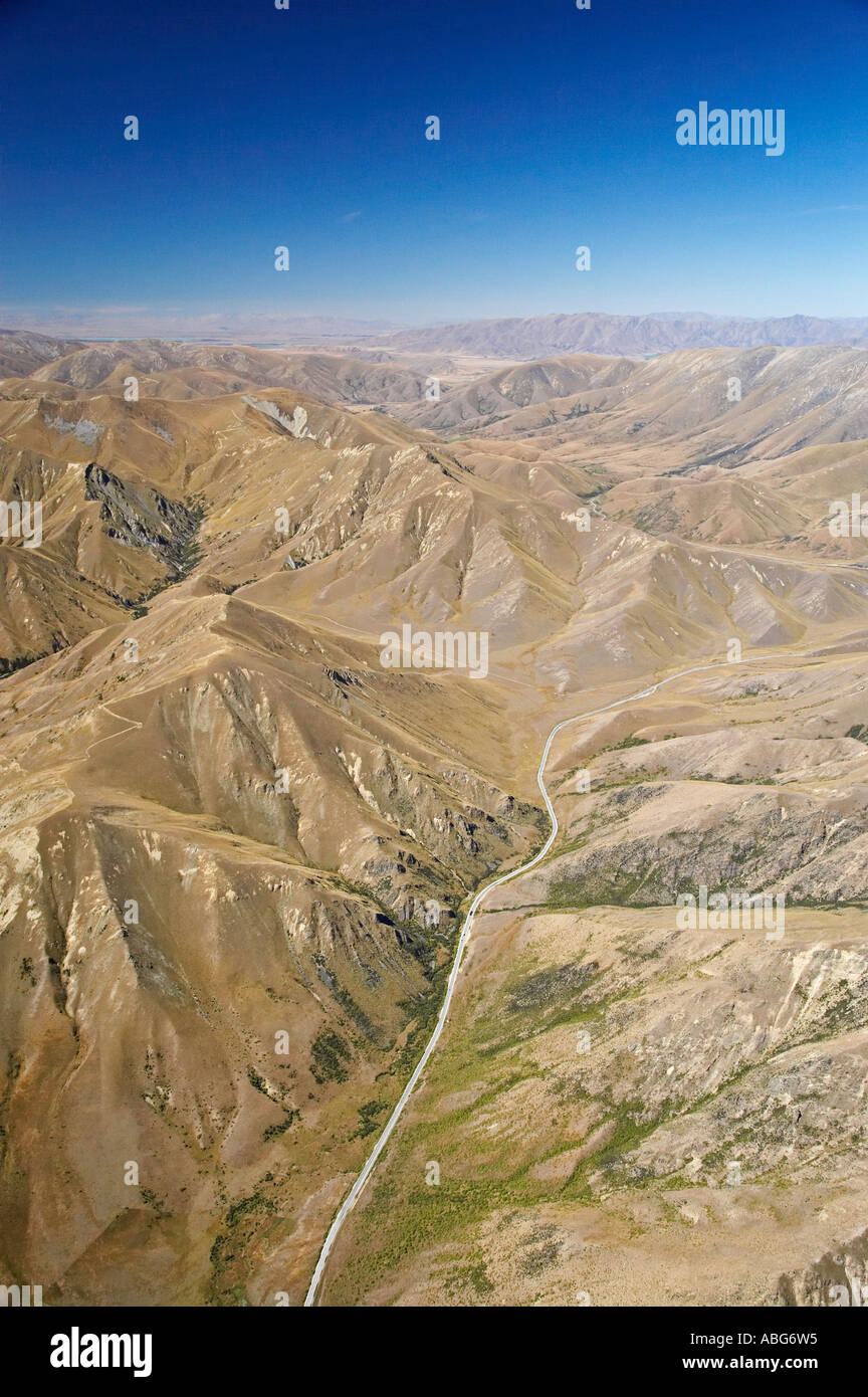 High Country Lindis Pass Otago South Island New Zealand aerial - Stock Image