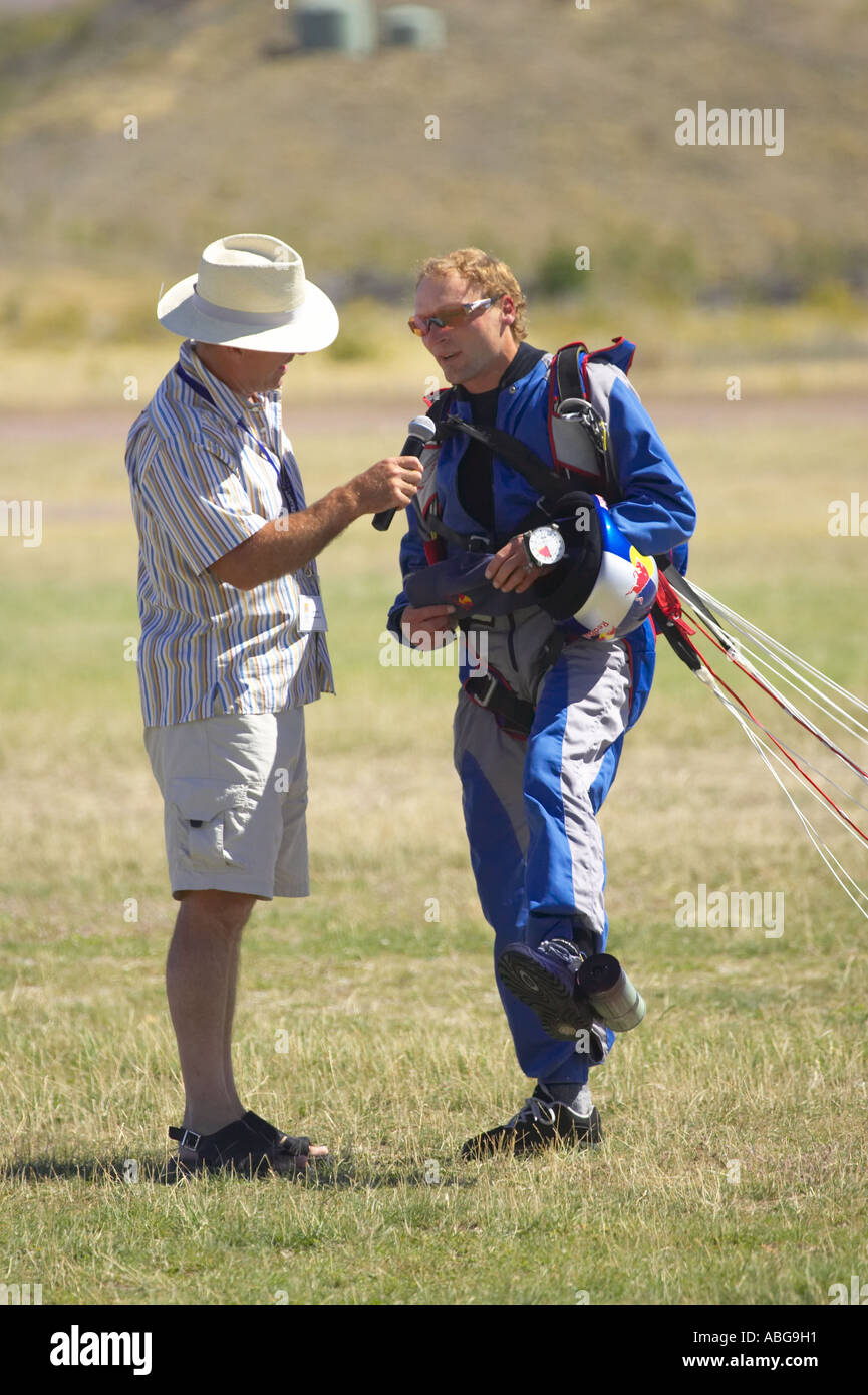 Daredevil Skydiver Chuck Berry Omarama North Otago South Island New Zealand - Stock Image