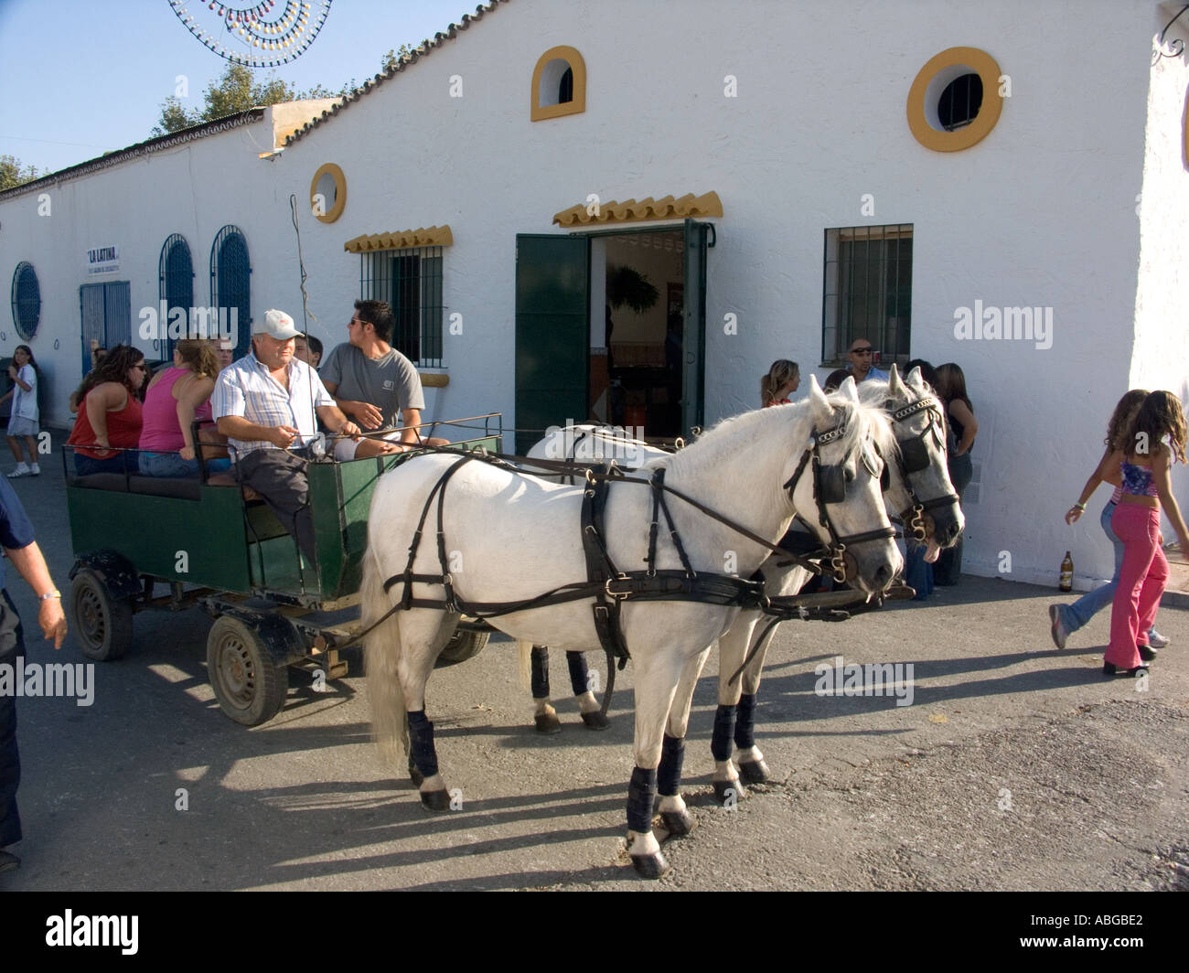 Pony and trap at the annual  Fuengirola  Romeria, Fuengirola, Costa del Sol, Spain, Europe, - Stock Image
