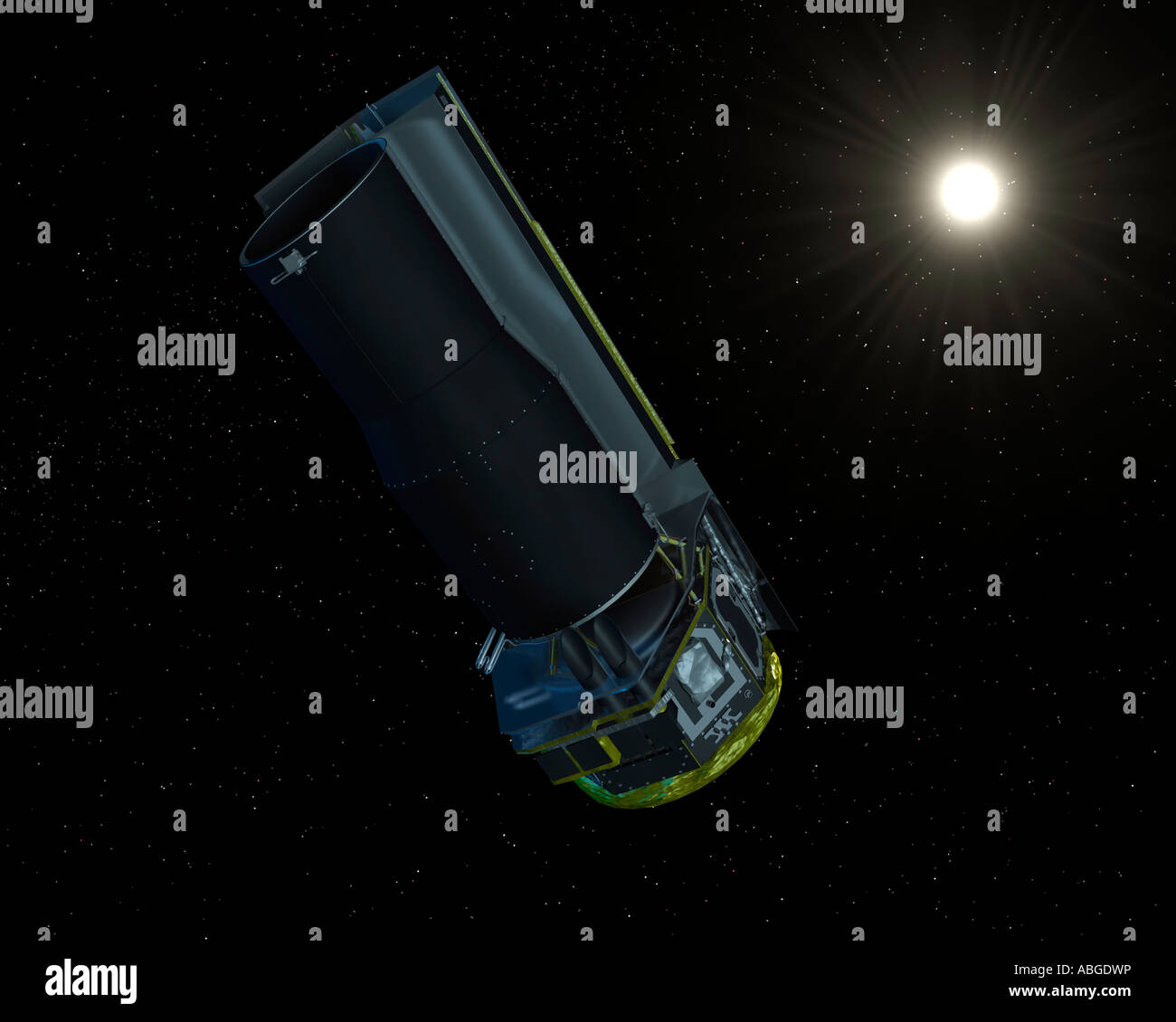 Spitzer seen in visible light. The solar shield always faces the sun, allowing the spacecraft to remain very cold. - Stock Image