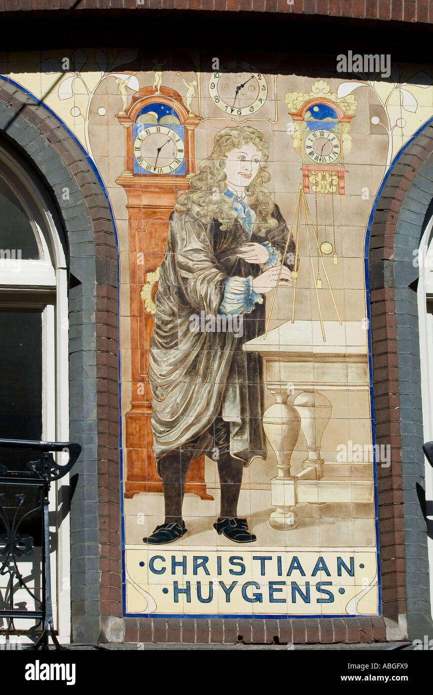 Mural in the centre of Amsterdam depicting famous Dutch mathematician Christiaan Huygens - Stock Image