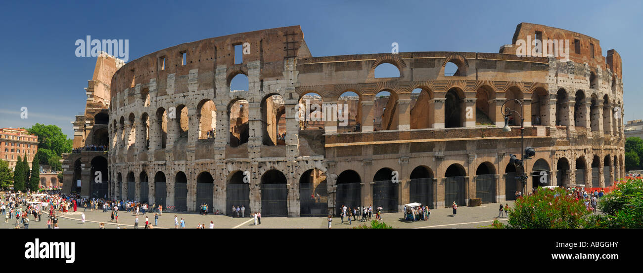 Full Panorama of the Colosseum or Flavian Amphitheatre in Rome Italy - Stock Image