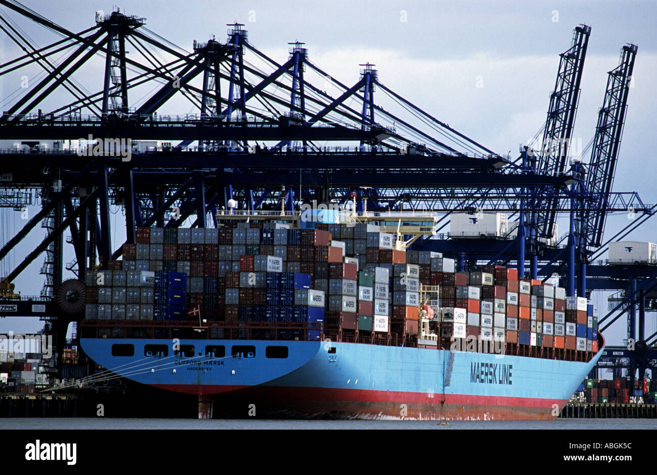 Trinity quay at the Port of Felixstowe, Britain's largest container terminal, Suffolk, UK. - Stock Image