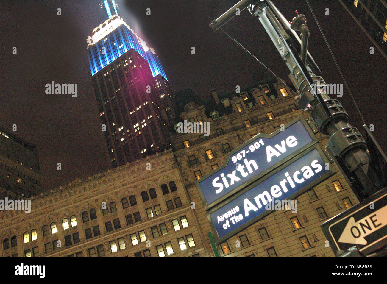Empire State Building New York With Street Sign Of Sixth Avenue In Foreground