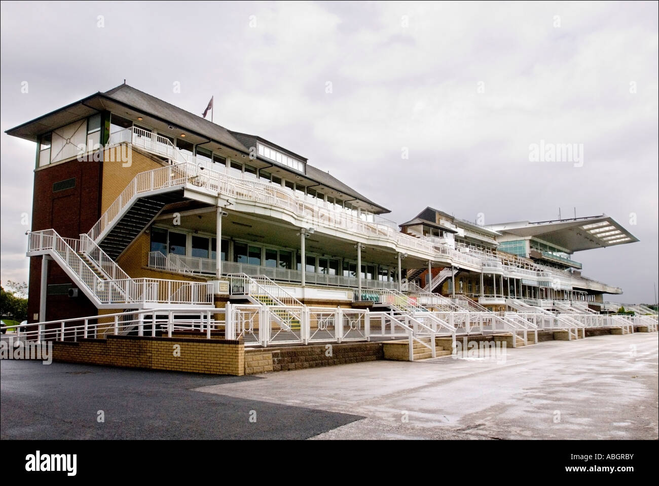 The old main stand at Aintree Racecourse home of the Grand National steeplechase with the Royal Box in the centre Stock Photo