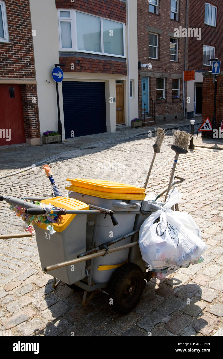 Refuse collection trolley cart Old Portsmouth Hampshire UK Stock Photo