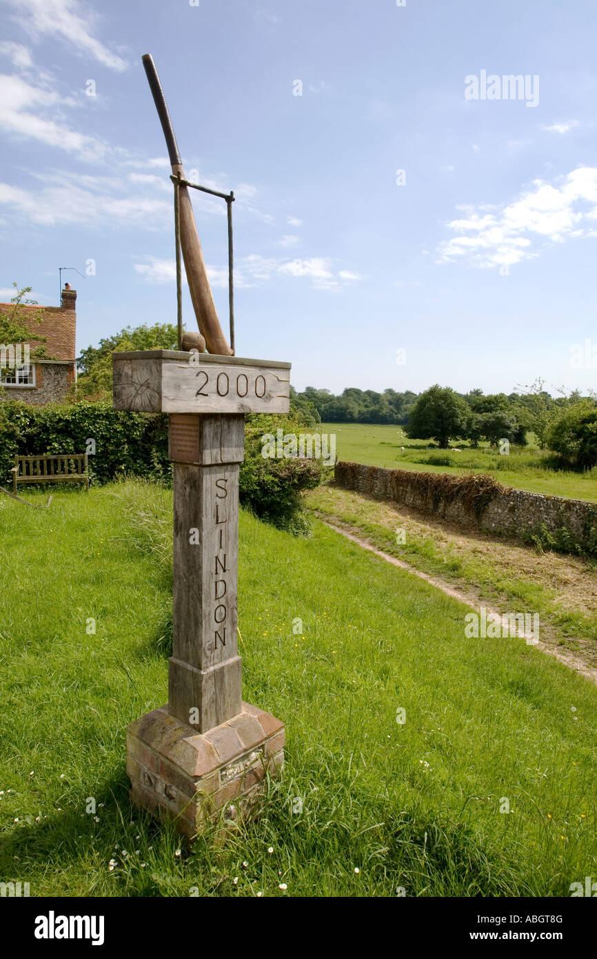 Cricket bat and ball sign Slindon village West Sussex UK Stock Photo