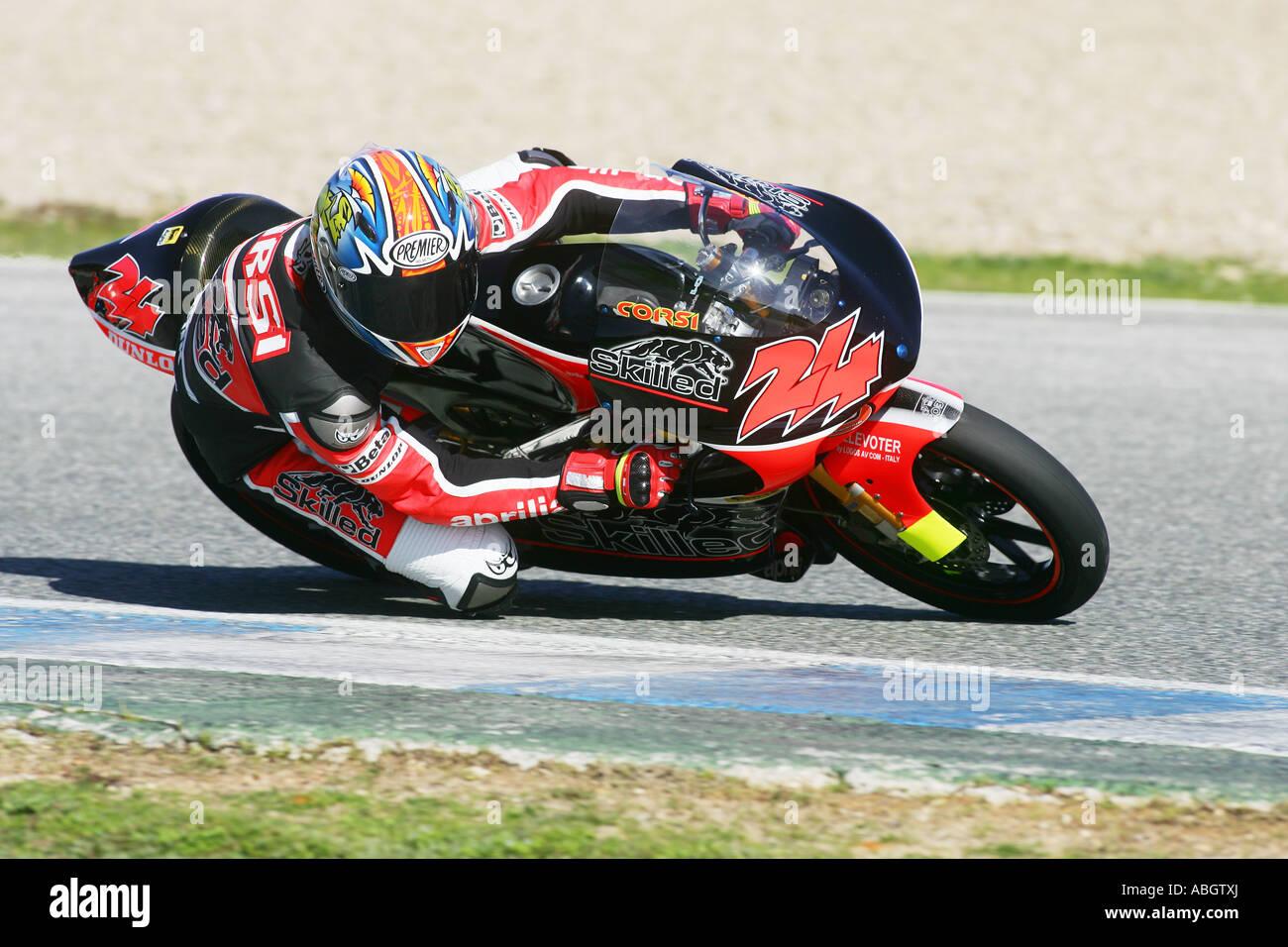 125 gp moto racing at jerez - Stock Image