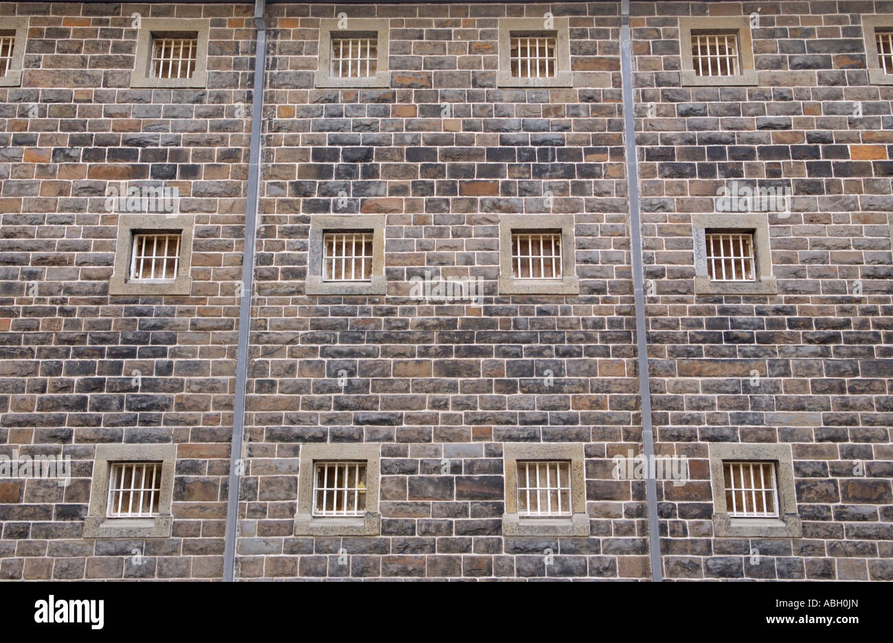 Exterior view of cellblock wing within the walls of Cardiff Prison South Wales UK - Stock Image