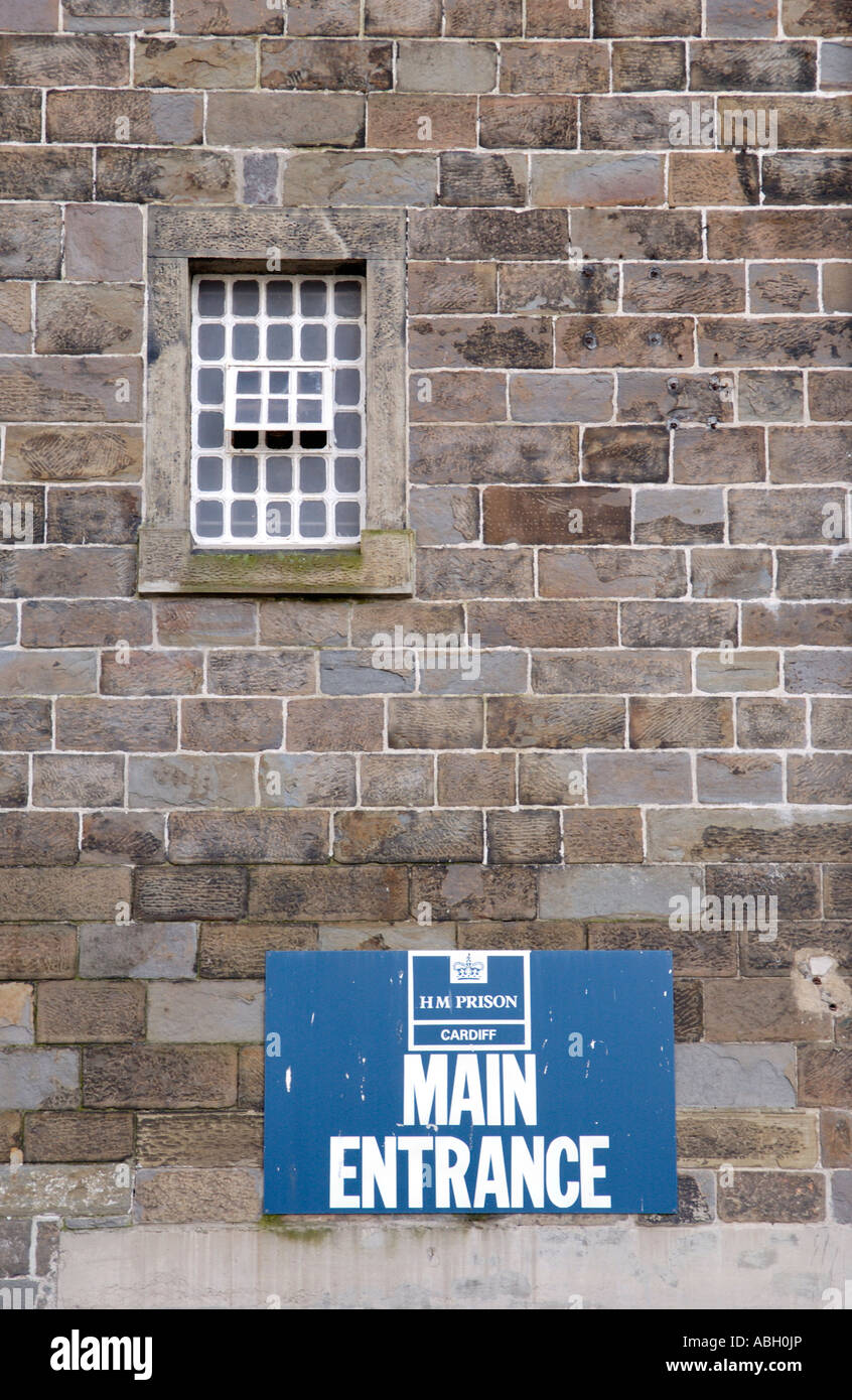 MAIN ENTRANCE to cellblock wing within the walls of Cardiff Prison South Wales UK - Stock Image