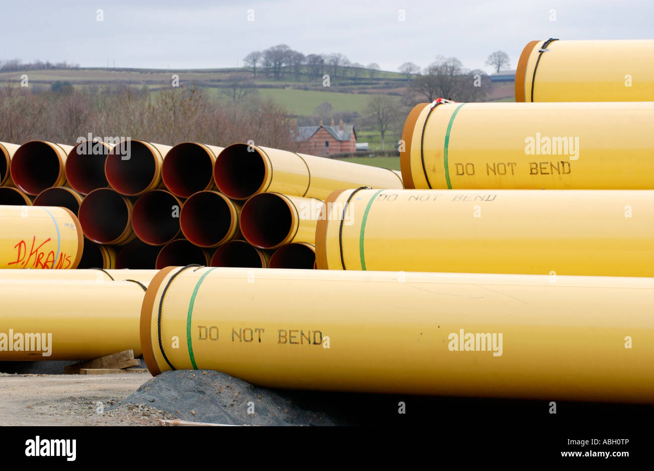 LNG pipeline storage facility in countryside at Llandefaelog Fach near Brecon Powys Mid Wales UK - Stock Image