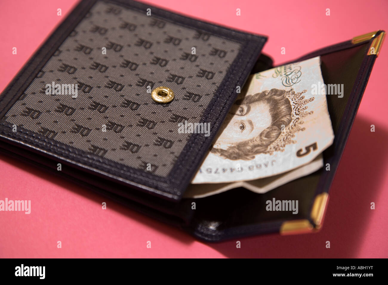 womens wallet purse containing five pound note - Stock Image