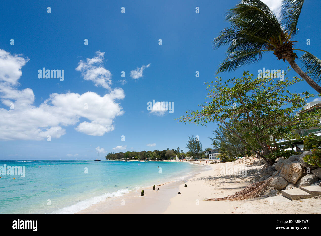 Beach at Holetown, West Coast, Barbados, Lesser Antilles, West Indies, Caribbean - Stock Image