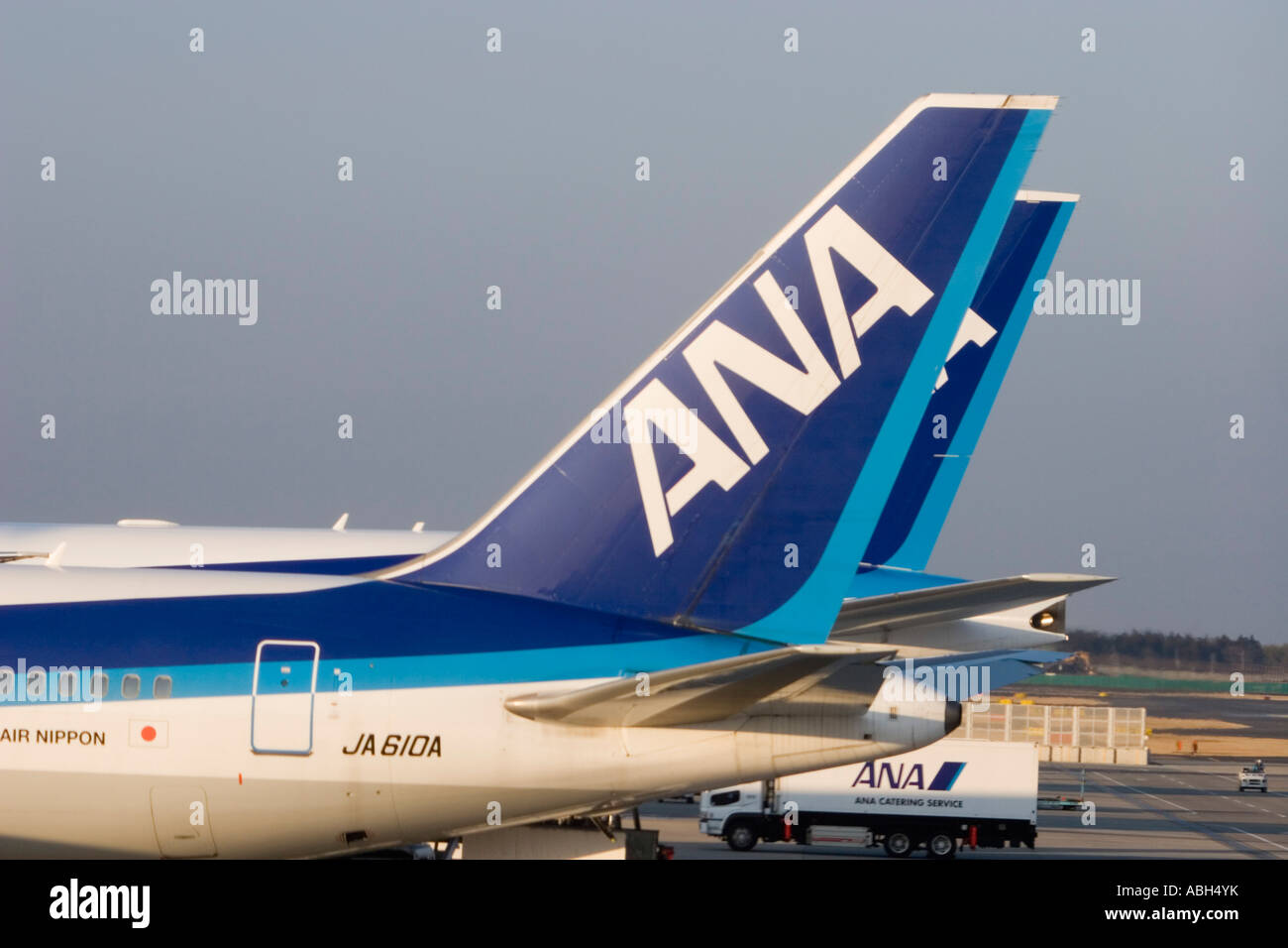 all nippon airways aircraft tailplanes tokyo international airport rh alamy com