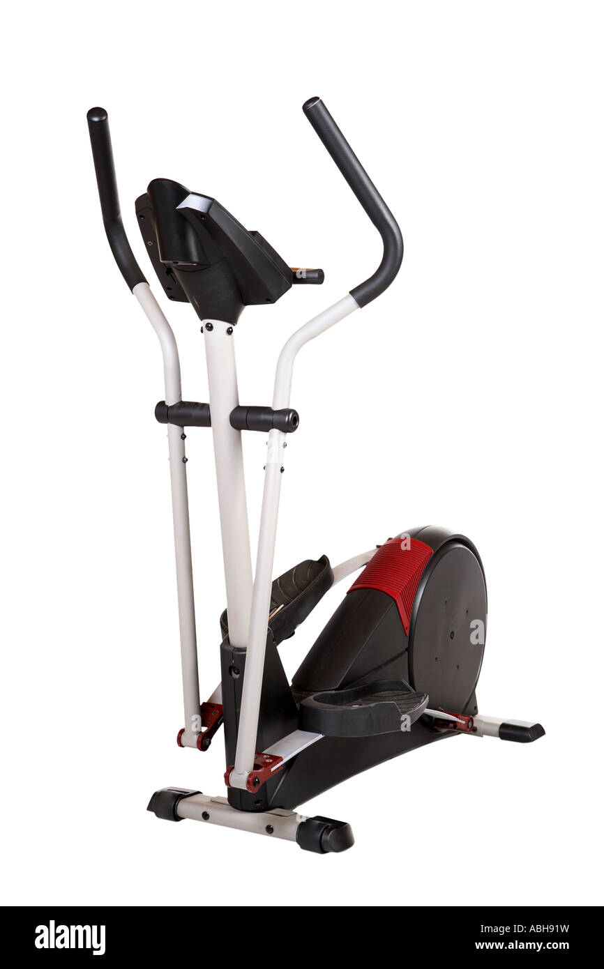 Elliptical exercise equipment cut out on white background - Stock Image