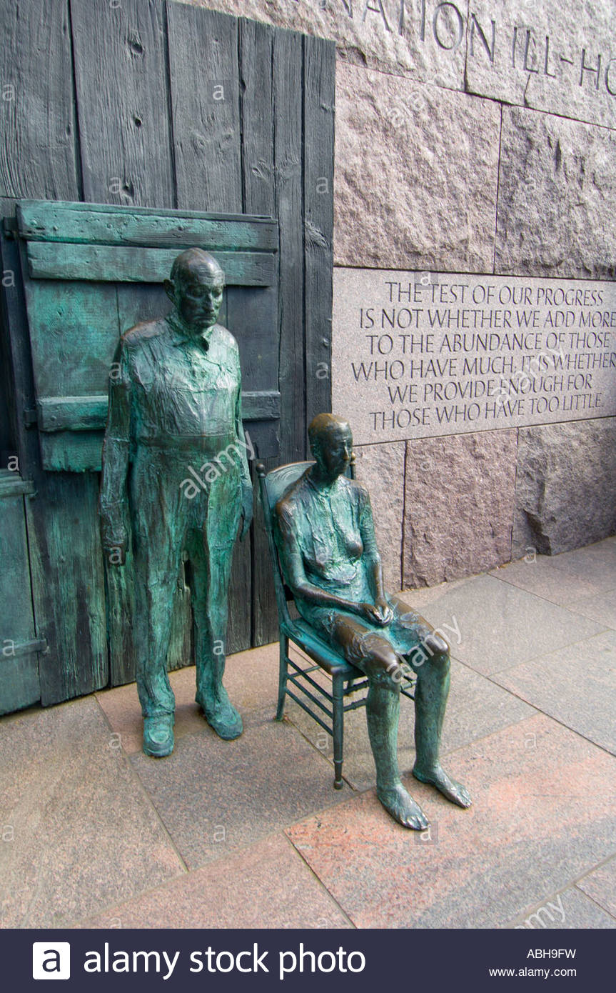 Sculptures Franklin D Roosevelt Memorial Washington District of Columbia USA - Stock Image