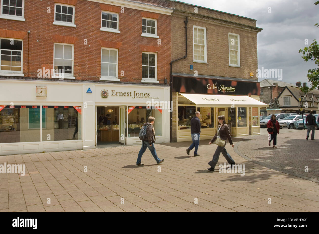 Cornhill area of town centre of  Bury St Edmunds, Suffolk, UK - Stock Image