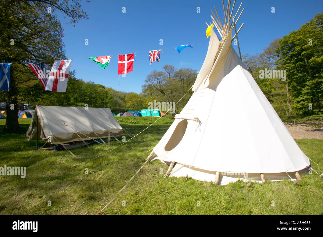 A traditional North American tipi teepee being used on a scout camp - Stock Image