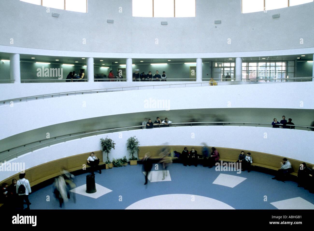 Royal Docks School Stratford London UK. The atrium of this community college taken October 1999 - Stock Image