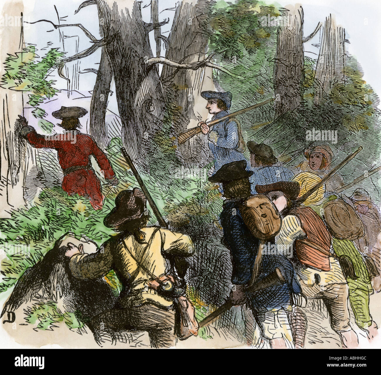 Colonial militia crossing the mountains during the French and Indian War. Hand-colored woodcut - Stock Image