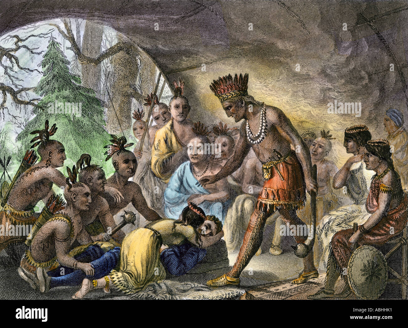John Smith saved by Pocahontas at Jamestown in Virginia Colony 1607.  Hand-colored engraving