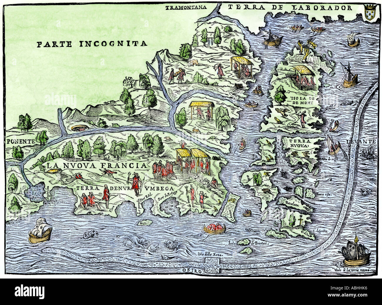Map of New France in 1550 showing the coast of Canada and the Gulf of Saint  Lawrence. Hand-colored woodcut