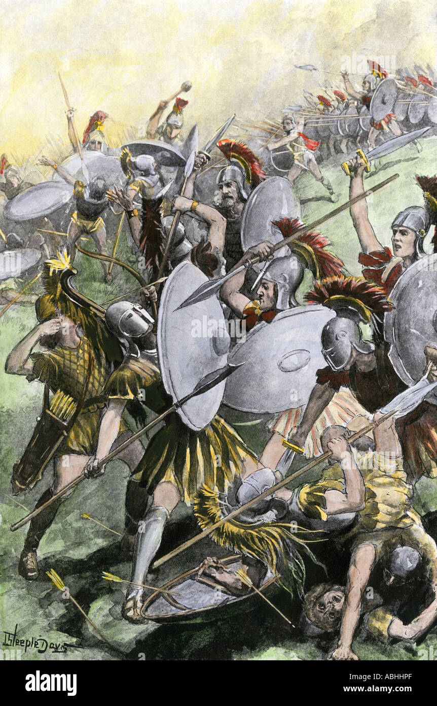Destruction of the Athenian army at Syracuse 413-415 BC. Hand-colored halftone of an illustration - Stock Image