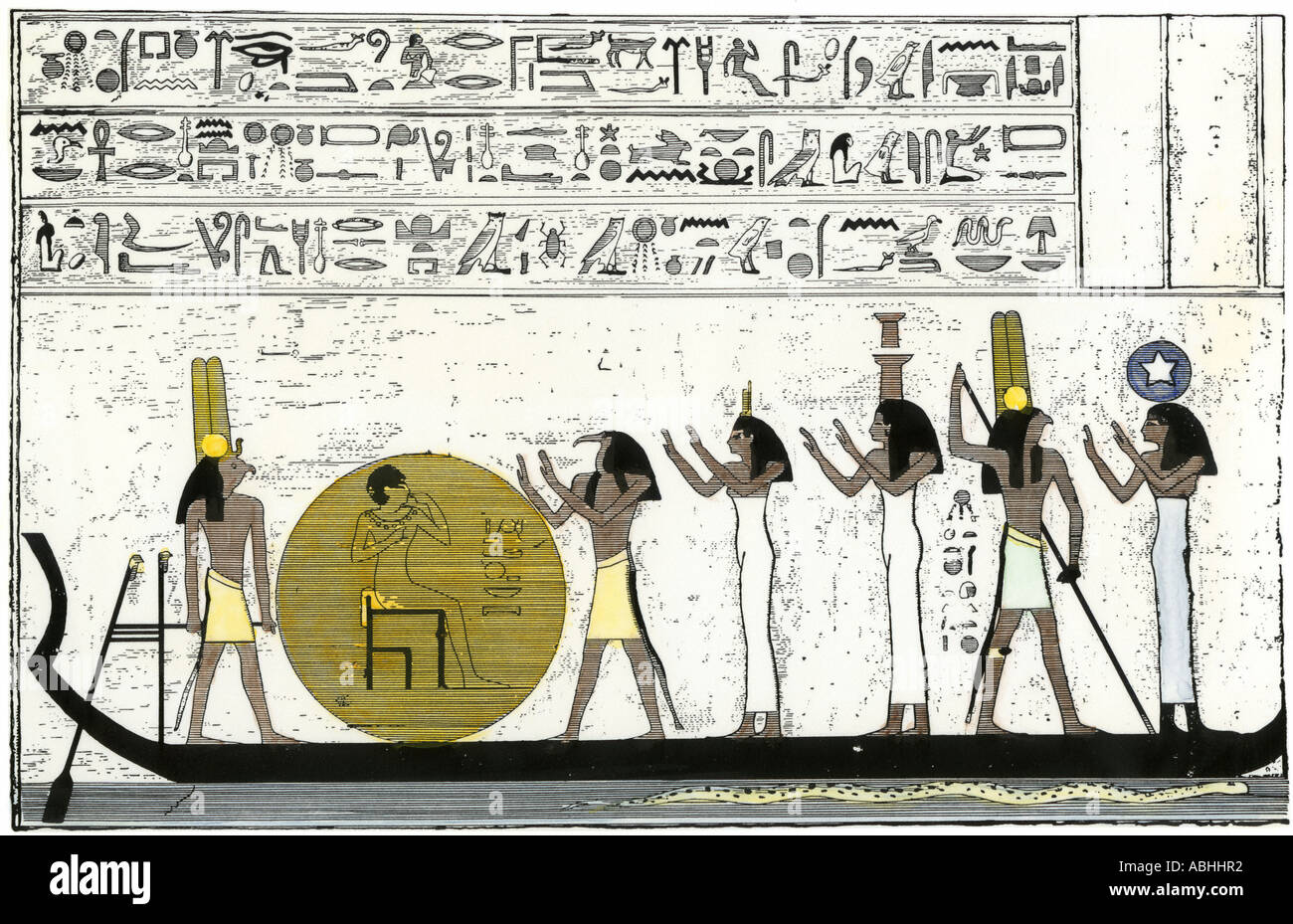 Sun god Ra embarking for his daily journey through ancient Egypt. Hand-colored woodcut - Stock Image