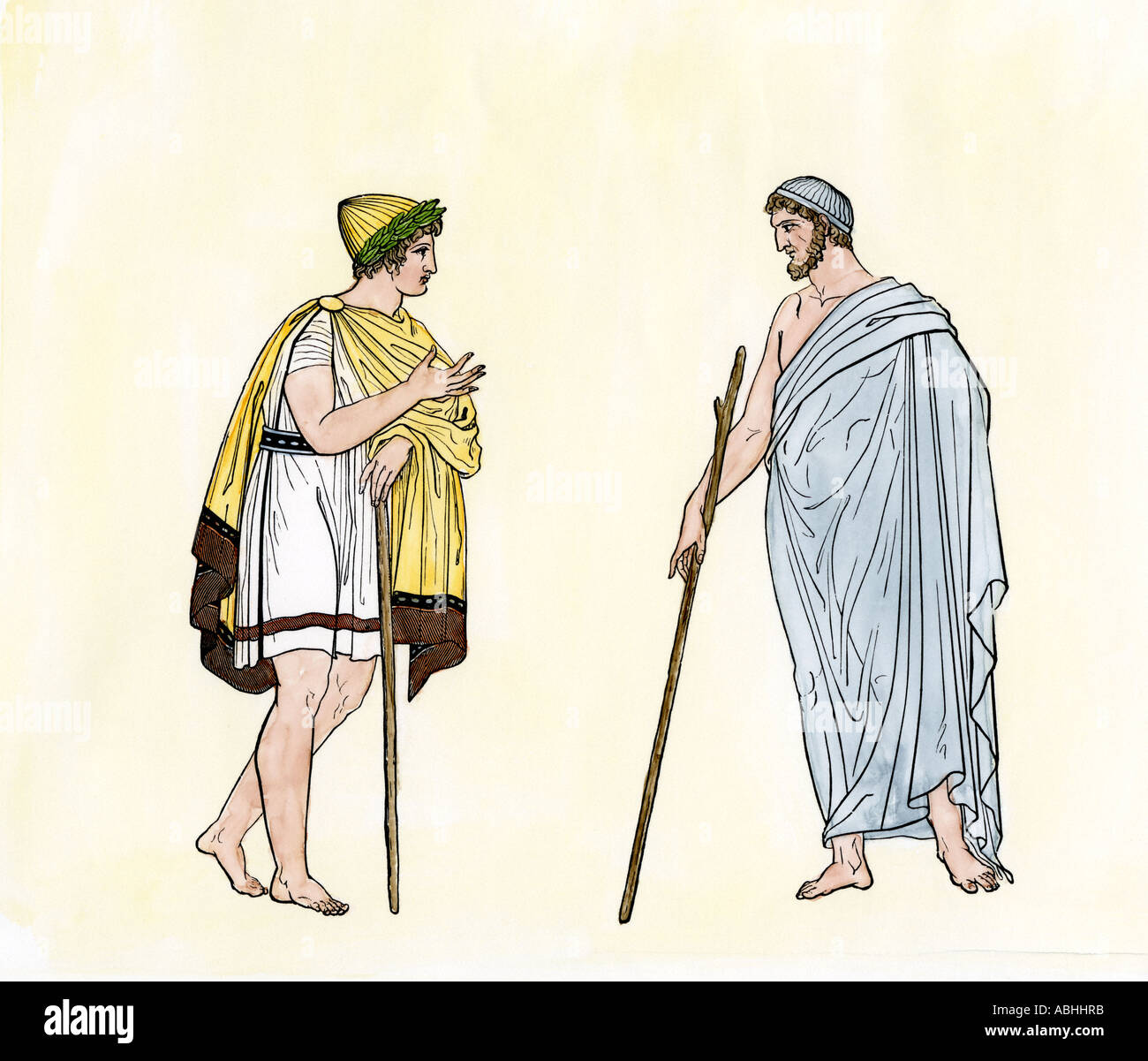 Athenians conversing a scene in ancient Greece 400s BC. Hand-colored woodcut - Stock Image