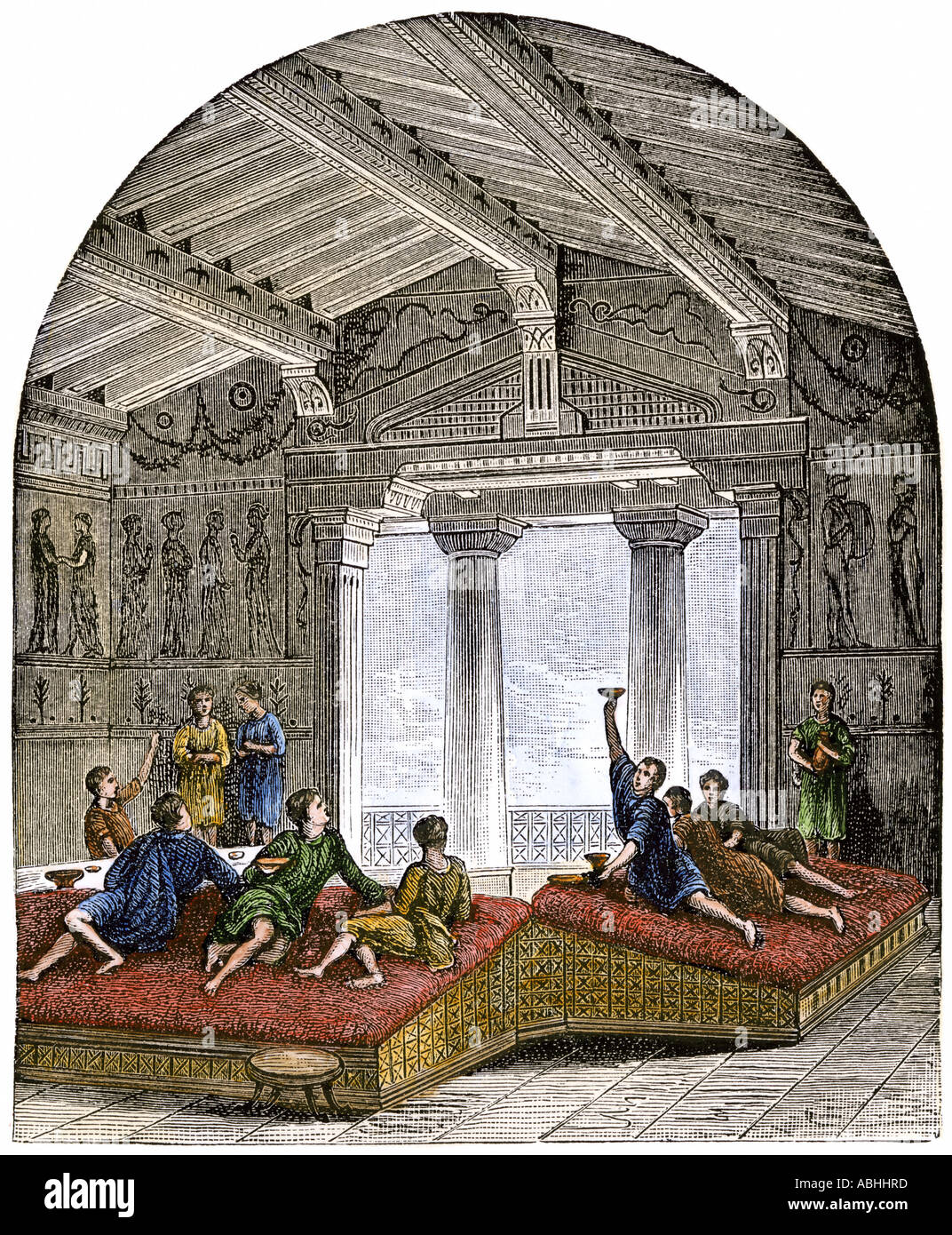 Ancient Greek symposium featuring the exchange of ideas along with drinks. Hand-colored woodcut - Stock Image