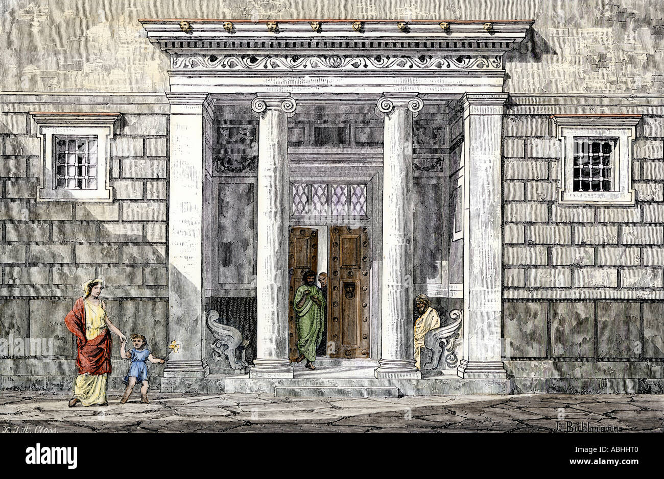 Entrance to a well to do home in ancient Greece. Hand-colored woodcut - Stock Image
