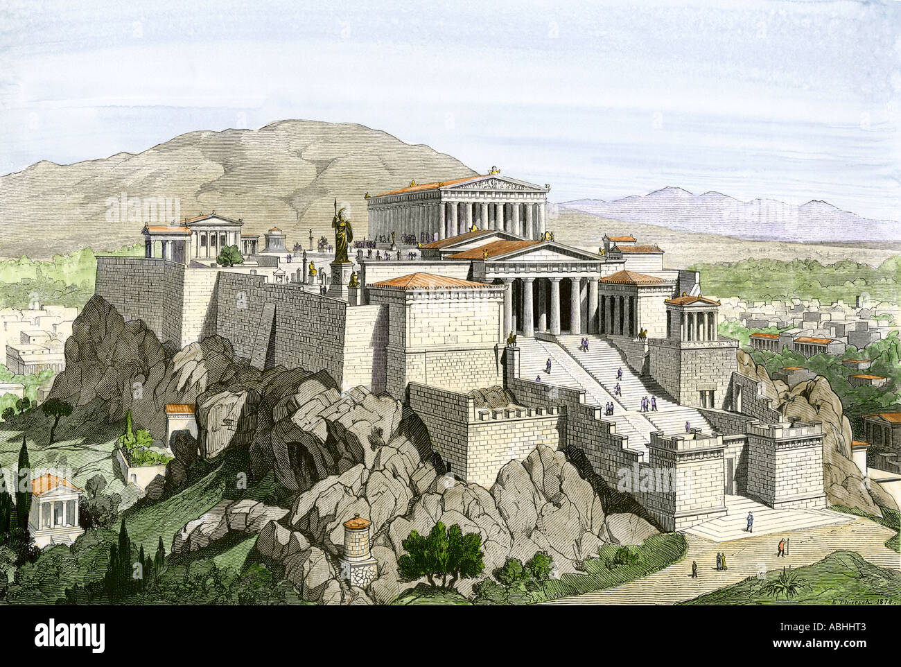 Acropolis of ancient Athens crowned by the Parthenon and a statue of Athena. Hand-colored woodcut Stock Photo