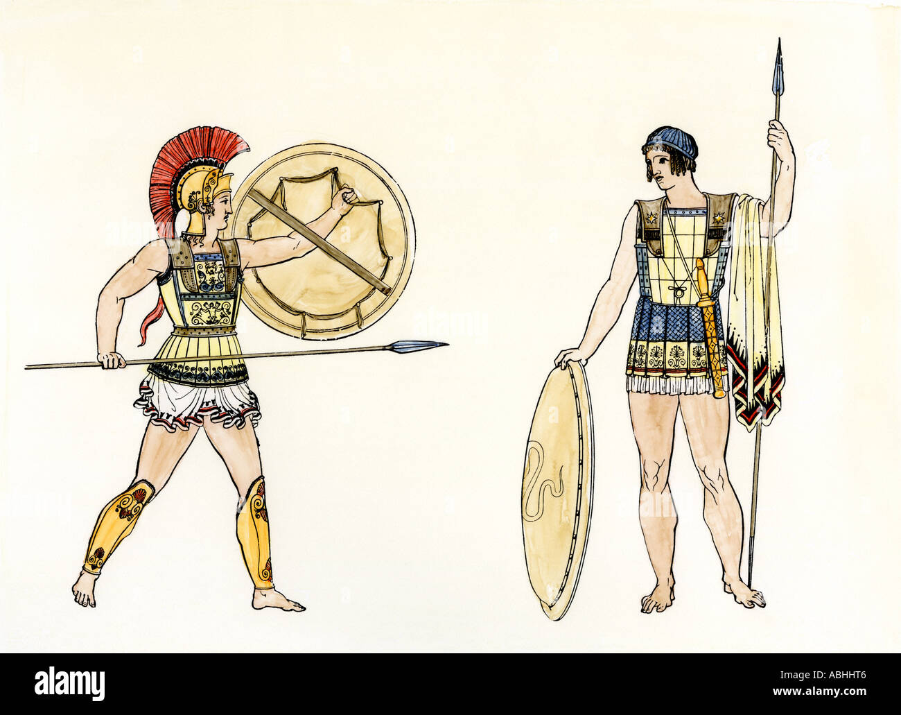 Ancient Greek soldiers. Hand-colored woodcut - Stock Image