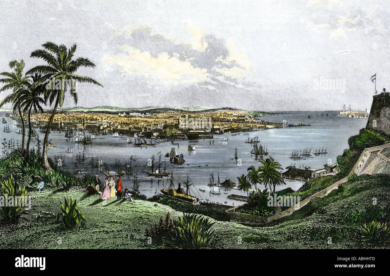 Harbor of Havana Cuba in the 1800s. Hand-colored steel engraving - Stock Image