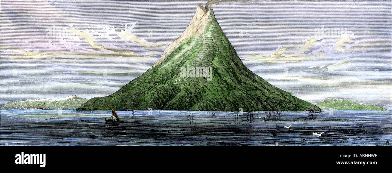 Island of Krakatoa before its destruction when its volcano erupted in 1883. Hand-colored woodcut - Stock Image
