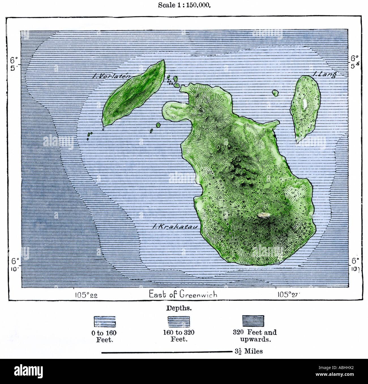 Krakatoa and neighboring islets before the volcanic eruption of 1883. Hand-colored woodcut - Stock Image