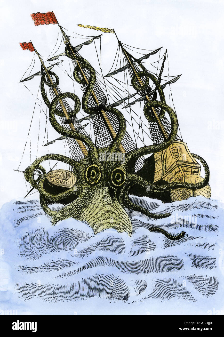 Kraken, or giant squid, attacking a sailing ship in medieval times. Hand-colored woodcut - Stock Image